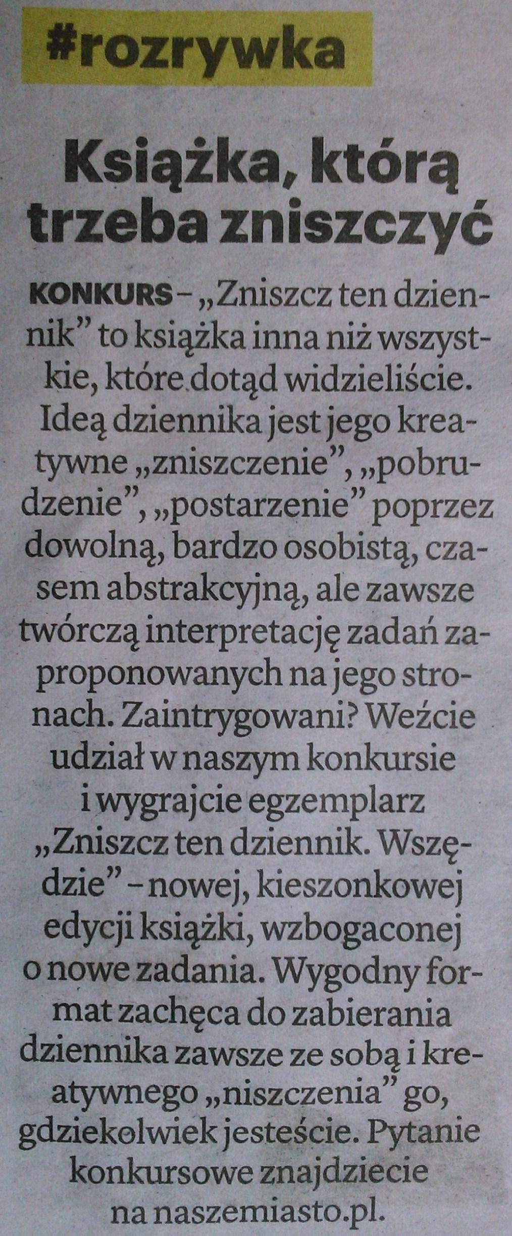 """Wątpliwej jakości konkursy promowane przez warszawską gazetę """"Nasze Miasto"""""""